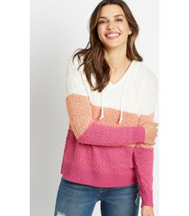maurices womens pink colorblock hooded pullover sweater purple