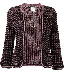 chanel pre-owned chain-link fastening woven jacket - black