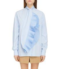 women's givenchy ruffle scarf neck shirt, size 12 us - blue