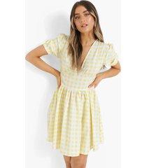 geruite skater jurk met pofmouwen en losvallende zoom, yellow