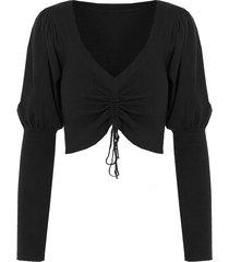 crop trui met koord zwart