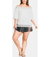 city chic plus size summer romance lace-trim off-the-shoulder top