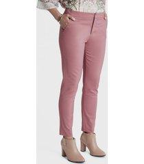 pantalon formal crop con aplicación rosa lorenzo di pontti