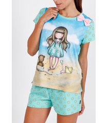 pyjama's / nachthemden admas pyjama shorts t-shirt hallo zomer santoro blauw