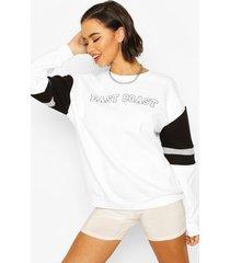 colour block city slogan oversized sweater, white