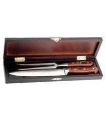 kit faca e garfo para churrasco com maleta 2 pcs – full fit