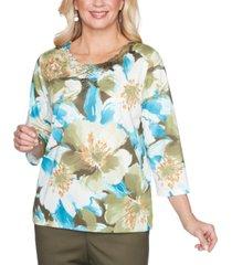 alfred dunner petite floral-print embellished knit top