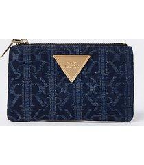 river island womens blue ri jacquard mini zip pouch purse