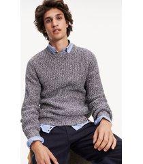 tommy hilfiger men's heaered knit sweater sky captain - xs