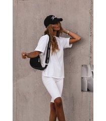 komplet t-shirt + kolarki w białym kolorze