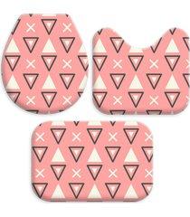 kit 3 tapetes decorativos para banheiro wevans abstrato rosa