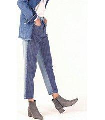 pantalón azul ossira mom combinado