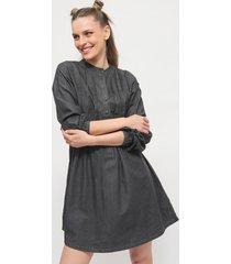 vestido missguided chambray pleat denim smock negro - calce regular