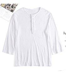 camiseta fina de manga larga con botones sueltos ocasionales finos para hombres cuello