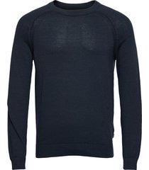 6202626, knit - sdluno o-neck organ stickad tröja m. rund krage blå solid
