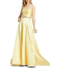 mac duggal women's embellished-waist satin strapless gown - lemon - size 14