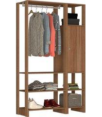 guarda roupa closet 2 peças c/ 1 cabideiro 2 prateleiras e 6 nichos yes nova mobile