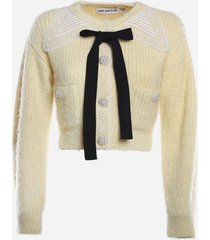 self-portrait cotton blend cardigan with lace inserts