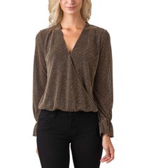 black label women's plus size metallic long sleeve wrap front knit top