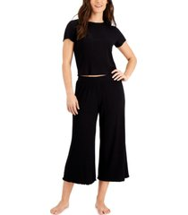 alfani ribbed capri pajama pants set, created for macy's