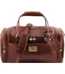 tuscany leather tl141441 tl voyager - borsone viaggio in pelle con tasche laterali - misura piccola marrone
