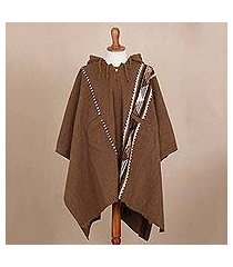 men's alpaca and wool hooded poncho, 'chestnut mountains' (peru)