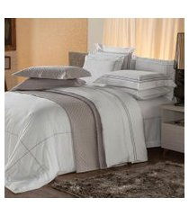jogo de cama queen plumasul premium harmonious 4 pçs bordado cinza