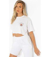 kort t-shirt met borstopdruk, white
