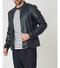emporio armani blue leather jacket 3z1b92-1eaaz