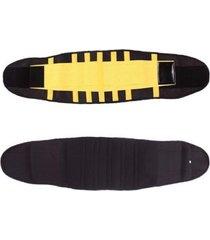 cinta rioutlet tã©rmica modeladora abdominal preta/amarelo - preto - feminino - dafiti