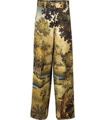printed full leg belted trouser