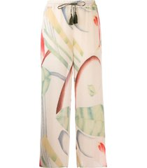 etro micro-pleated palazzo trousers - neutrals