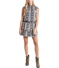 women's 1.state snakeskin print tiered chiffon dress, size medium - black