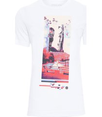 t-shirt masculina stone vintage flowers - branco