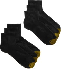 gold toe women's 6 pack sport half-cushion quarter socks