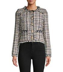 frayed-trim tweed jacket