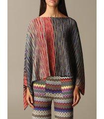 missoni scarf missoni poncho with multi-stripes lurex