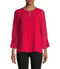 calvin klein women's keyhole three-quarter sleeve top - rouge - size xs