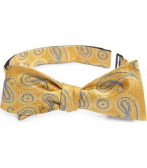 men's nordstrom diley paisley silk bow tie, size one size - yellow