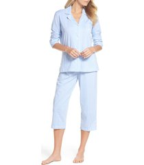 women's lauren ralph lauren knit crop cotton pajamas, size small - blue