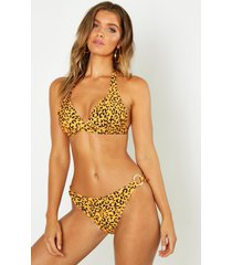 tangerine leopard push up triangle bikini, orange