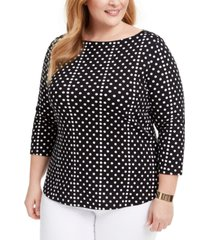 charter club plus size cotton printed boatneck top, created for macy's