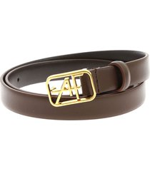 alberta ferretti - leather belt with logo