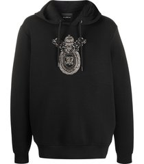 john richmond studded embroidered logo hoodie - black