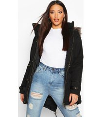 parka jas met faux fur capuchon, zwart