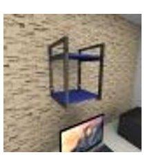 prateleira industrial para escritório aço preto mdf 30 cm azul escuro modelo ind24azes