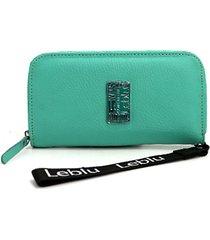 billetera de cuero verde leblu
