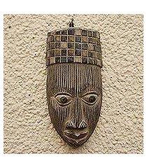 african wood mask, 'yoruba hat' (ghana)