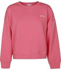 red valentino rear ruffle applique ribbed logo sweatshirt