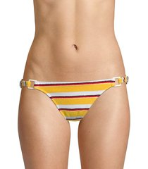 solid and striped women's the tilda striped terry ring bikini bottom - yellow - size s